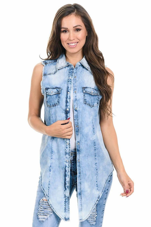 dc29d9ad6 Sweet Look Women's Denim Blouse · Denim Shirt · Style Z024
