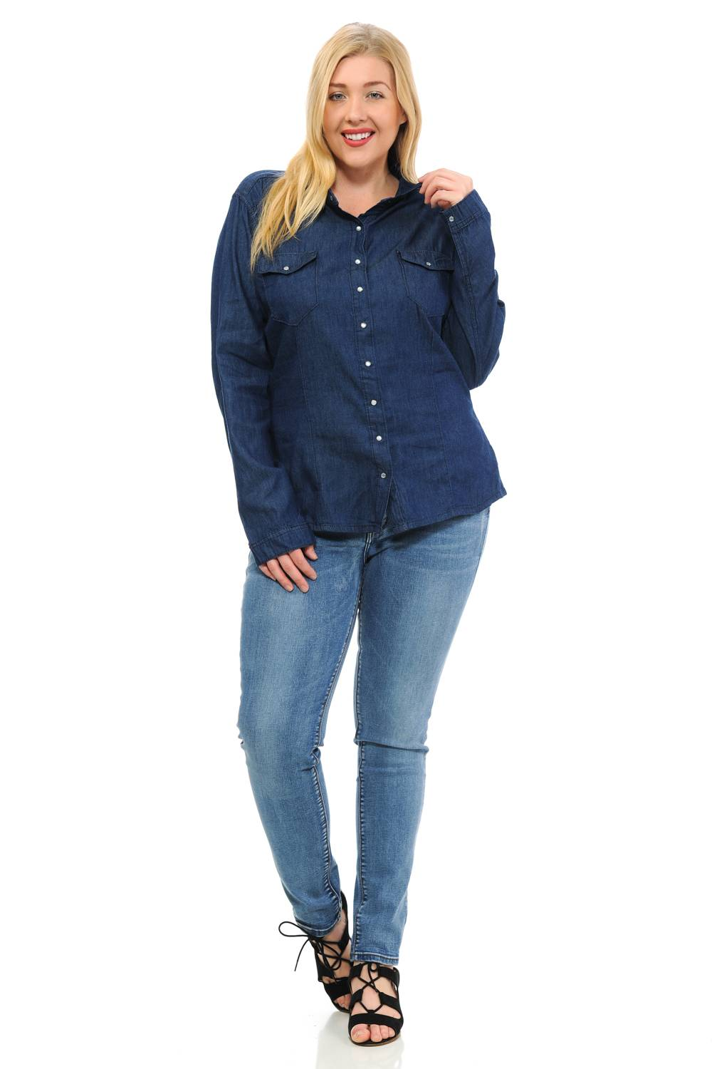 5c473a142a23da Sweet Look Women s Denim Blouse · Plus Size · Long Sleeve · V-neck ...