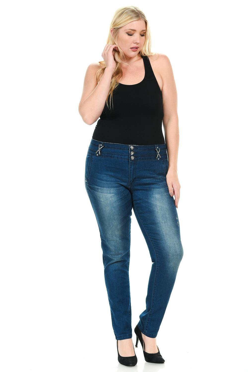 033dd6e135b Sweet Look Women s Jeans - Plus Size - High Waist - Push Up - Style 001