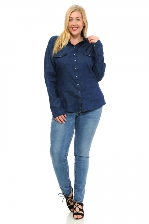 Sweet Look Denim Blouses Plus Size